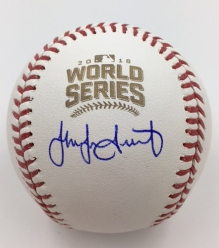 Photo of Jake Arrieta Autographed 2016 World Series Baseball