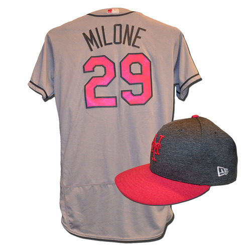 Photo of Tommy Milone #29 - Game Used Mother's Day Jersey and Hat - Mets vs. Brewers - 5/14/17
