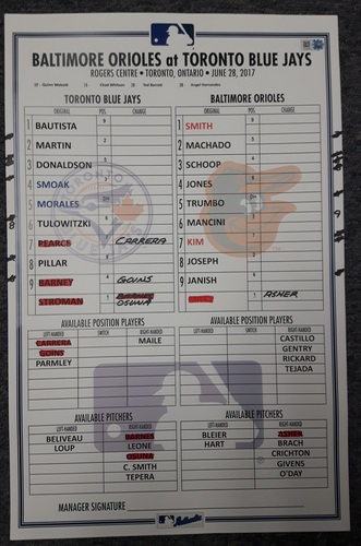 Photo of Authenticated Game Used Lineup Card - June 28, 2017 (Smoak hit his Career High 21st HR of the Season)