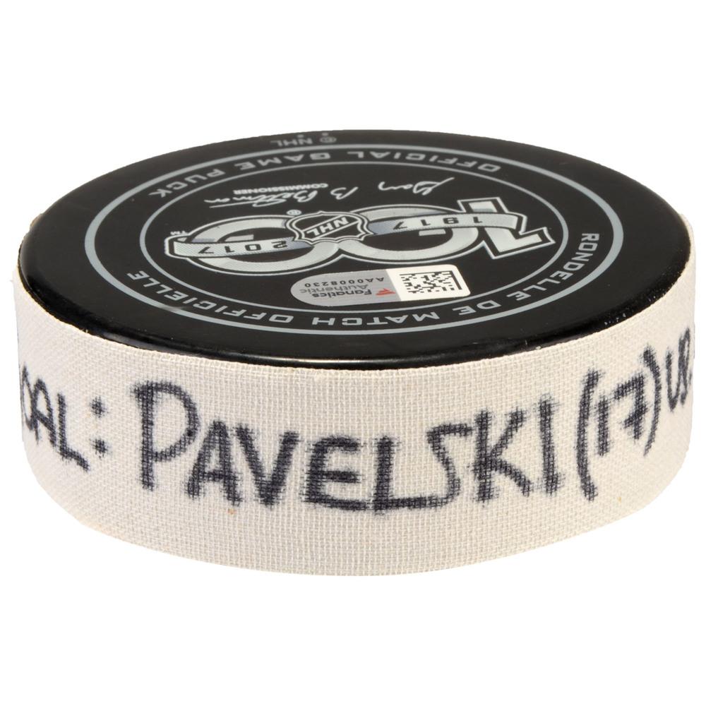 Joe Pavelski San Jose Sharks Game-Used Goal Puck from January 31, 2017 vs. Chicago Blackhawks