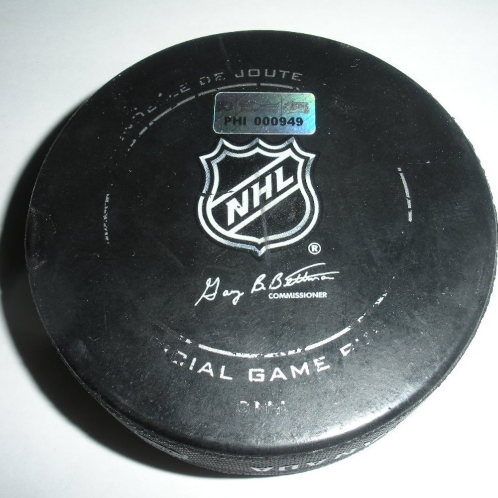 Derek Dorsett - Columbus Blue Jackets - Goal Puck - November 5, 2011 (Flyers Logo)