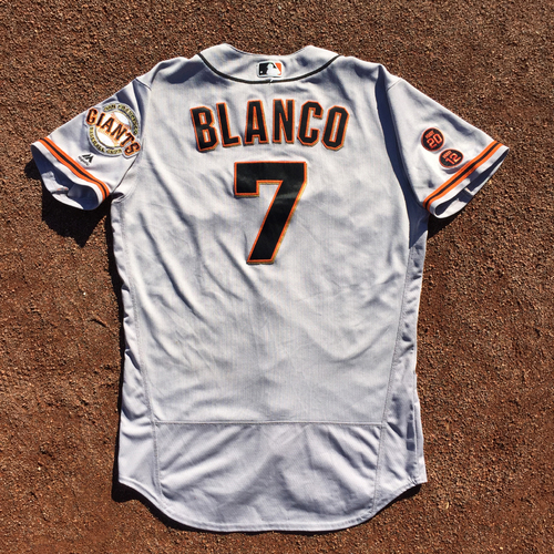 Photo of San Francisco Giants - 2016 Game-Used Road Jersey - Worn by #7 Gregor Blanco on 9/24 (Size 44)