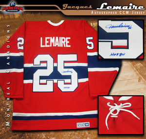 JACQUES LEMAIRE Signed Montreal Canadiens Red CCM Vintage Jersey