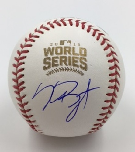 Photo of Kris Bryant Autographed 2016 World Series Baseball