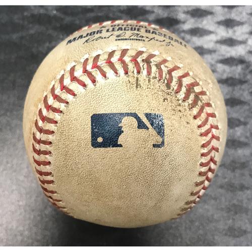 Photo of Game-Used Baseball - Daniel Descalso Single & Chris Herrmann Foul vs. Miguel Diaz