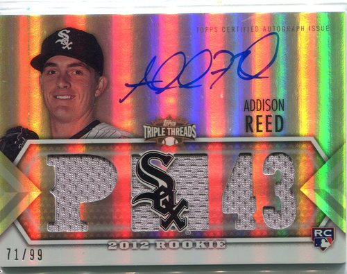 Photo of 2012 Topps Triple Threads #131 Addison Reed Jersey/auto  71/99 RC -- Red Sox post-season