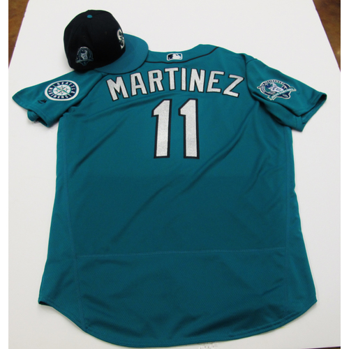 Photo of Edgar Martinez Green Team-Issued Jersey & Game-Used Cap With Edgar Martinez Patch 8-11-2017 - Sizes: Jersey - 48, Cap 7 1/4