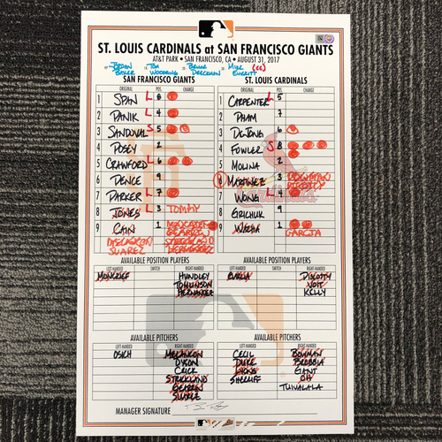Photo of San Francisco Giants - HOLIDAY STEALS - 2017 Lineup Card - St. Louis Cardinals at San Francisco Giants - August 31, 2017 - Matt Cain Start - Buster Posey - 2-3, 1R - Brandon Crawford - 2-4, 1RBI