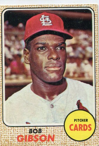 Photo of 1968 Topps #100 Bob Gibson -- Cardinals Hall of Famer
