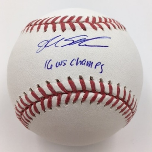 "Photo of Kyle Schwarber ""16 WS Champs"" Autographed Baseball"