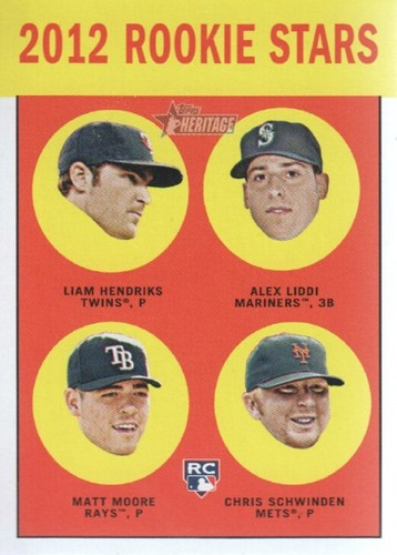 Photo of 2012 Topps Heritage #191 Liam Hendriks RC/Alex Liddi RC/Matt Moore RC/Chris Schwinden RC