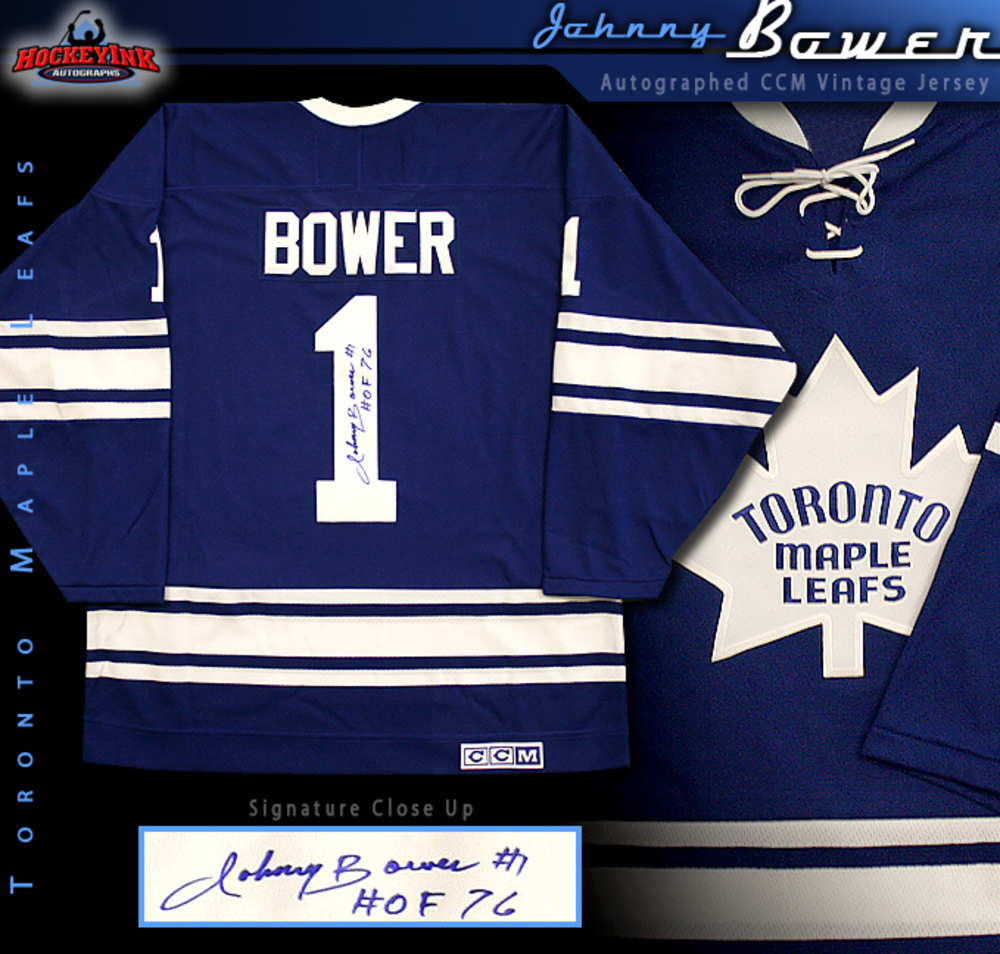 JOHNNY BOWER Signed CCM Vintage Toronto Maple Leafs Blue Jersey