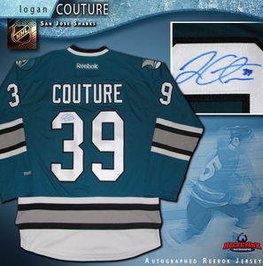 LOGAN COUTURE Signed San Jose Sharks 25th Anniversary Teal Reebok Jersey