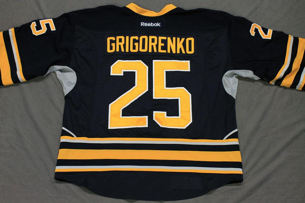 Mikhail Grigorenko Game Worn Buffalo Sabres Home Jersey.  Serial: 1013-1. Set 1 - Size 56.  2013-14 season.