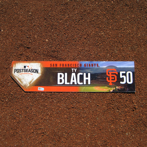 Photo of San Francisco Giants - Game-Used Locker Tag - WC & NLDS - Ty Blach