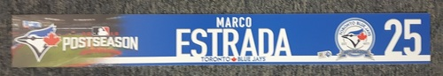Photo of Authenticated Game Used Locker Name Plate - #25 Marco Estrada. 2016 Wild Card Game.