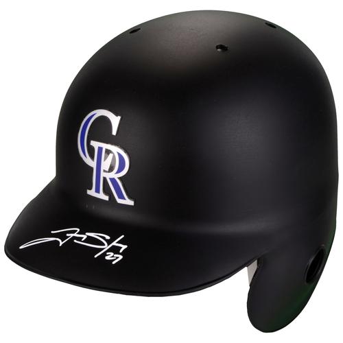 Photo of Trevor Story Colorado Rockies Autographed Replica Batting Helmet