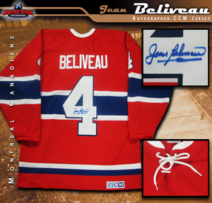 JEAN BELIVEAU Signed Montreal Canadiens Red CCM Vintage Jersey