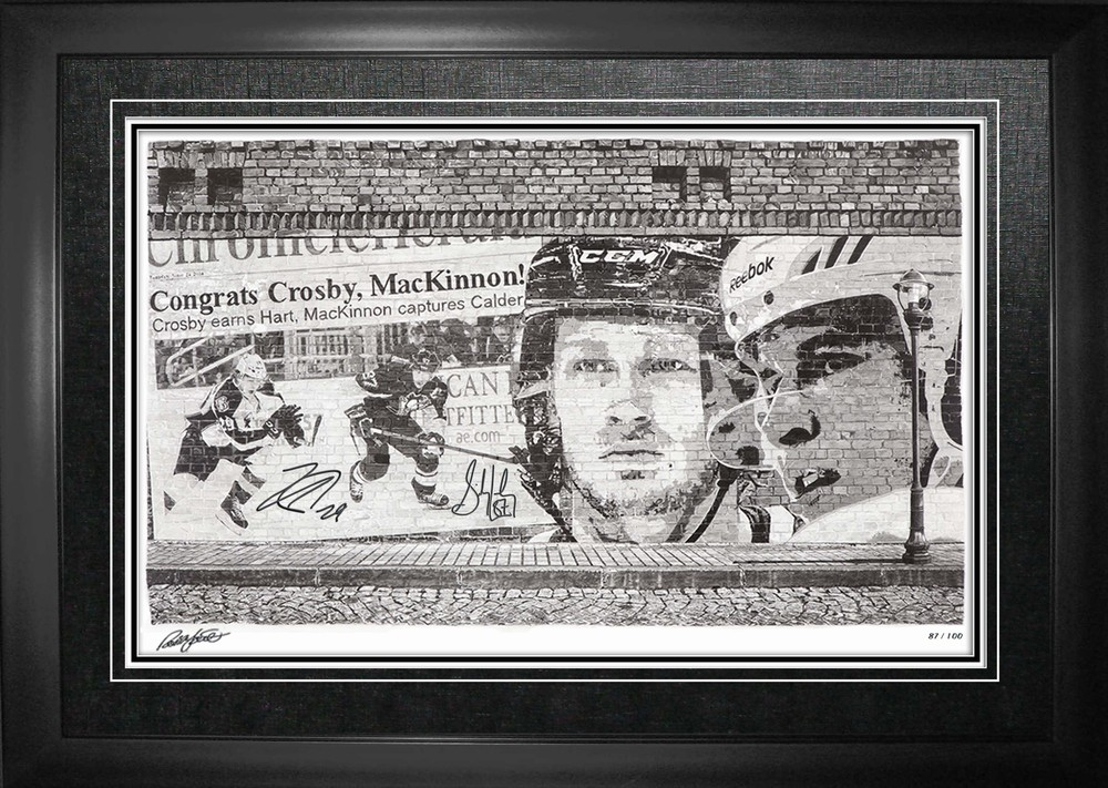 Sidney Crosby & Nathan Mackinnon - Dual Signed & Framed Robb Scott Print - Limited Edition of 100