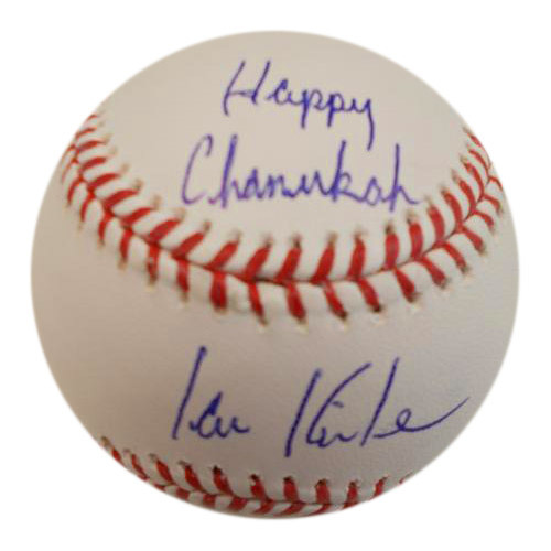 Photo of Ian Kinsler Autographed Baseball with Happy Chanukah Inscription