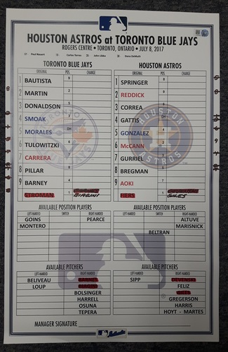 Photo of Authenticated Game Used Lineup Card - July 8, 2017 (Donaldson hit his 150th Career HR, Smoak set Career high with 56 RBIs)