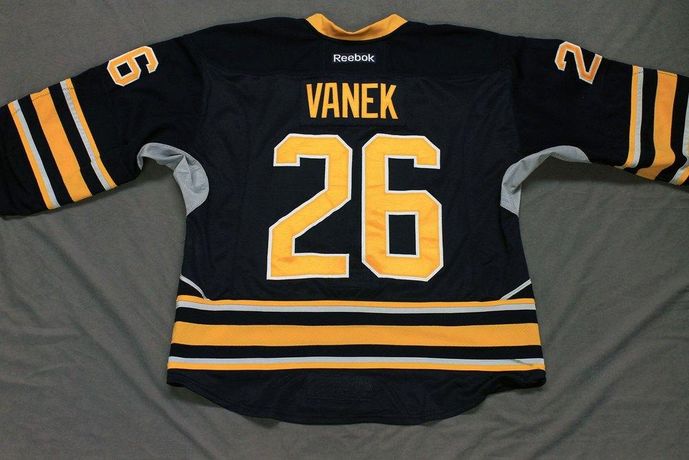 Thomas Vanek Game Worn Buffalo Sabres Home Jersey.  Serial: 1071-1. Set 1 - Size 54.  2013-14 season.