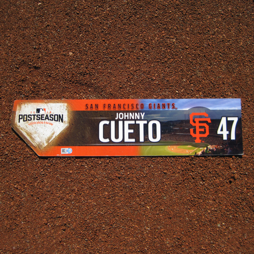 Photo of San Francisco Giants - Game-Used Locker Tag - WC & NLDS - Johnny Cueto