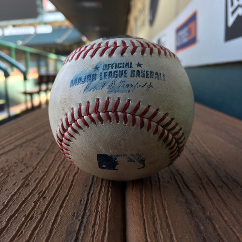 Photo of Game-Used Baseball: Mike Fiers to Jackie Bradley, Jr. (Triple) on 6/16/17