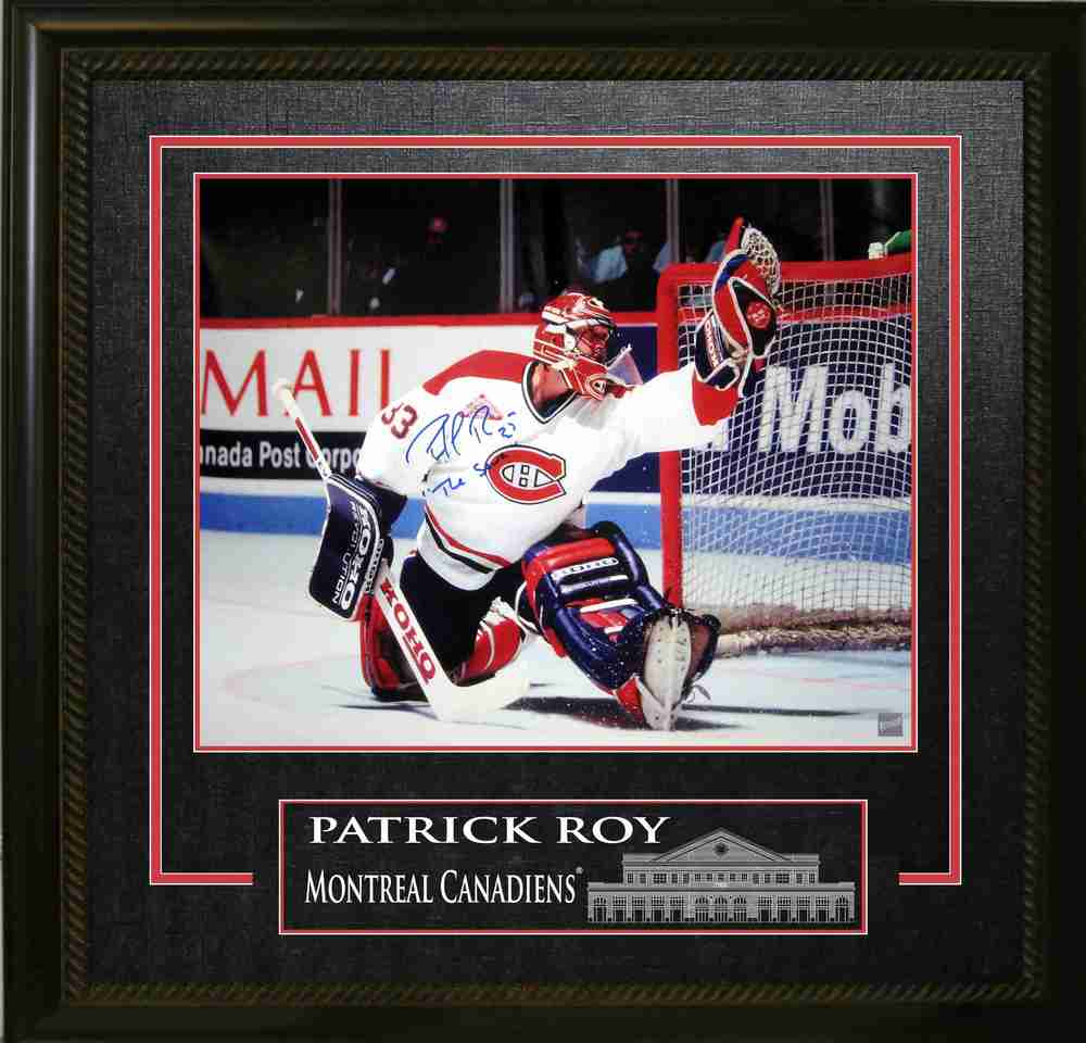 Roy,P Signed 16x20 with etching - Montreal Canadiens White Action Photo