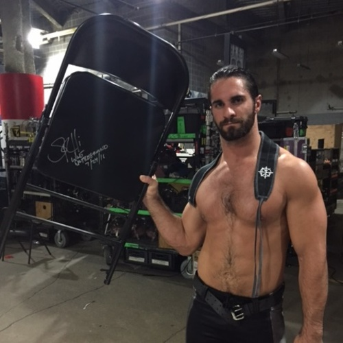 Photo of Seth Rollins USED & SIGNED Steel Chair (Battleground - 07/24/16)