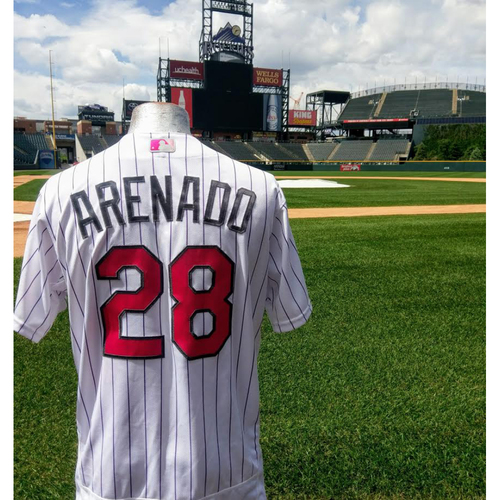 Photo of Colorado Rockies Nolan Arenado 2017 Mother's Day Jersey. 2-4 with 1 HR, 1 2B and 3 RBIs.