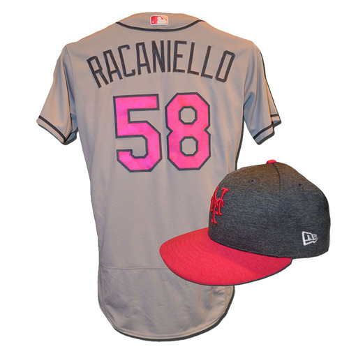 Photo of Dave Racaniello #58 - Game Used Mother's Day Jersey and Hat - Mets vs. Brewers - 5/14/17