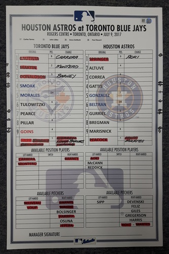 Photo of Authenticated Game Used Lineup Card - July 9, 2017 (Altuve is the ninth player in MLB history (since 1913) to record three or more hits in five consecutive games; Correa had 2 HRs)