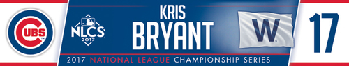 Photo of Kris Bryant Game-Used Locker Nameplate -- NLCS Game 4 -- Dodgers vs. Cubs -- 10/18/17