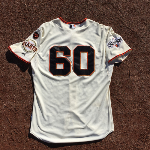 Photo of San Francisco Giants - 2015 Game-Used Home Jersey - Worn by #60 Hunter Strickland on 9/28 (Size 48)
