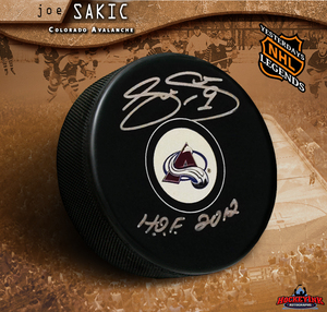 JOE SAKIC Signed Colorado Avalanche Puck with HOF 2012 Inscription