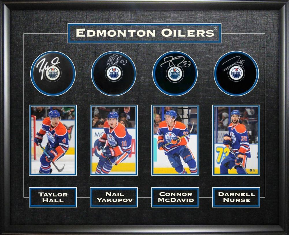 Connor McDavid, Taylor Hall, Nail Yakupov & Darnell Nurse - Signed & Framed Edmonton Oilers Pucks - Featuring Action Photo Collection
