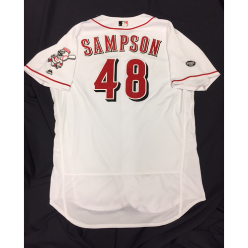 Photo of Game-Used Jersey - Keyvius Sampson - Home White Jersey - 9/30/16 CHC vs. CIN