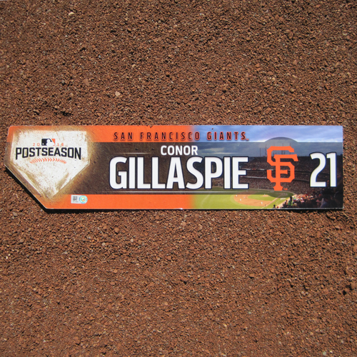 Photo of San Francisco Giants - Game-Used Locker Tag - WC & NLDS - Connor Gillaspie