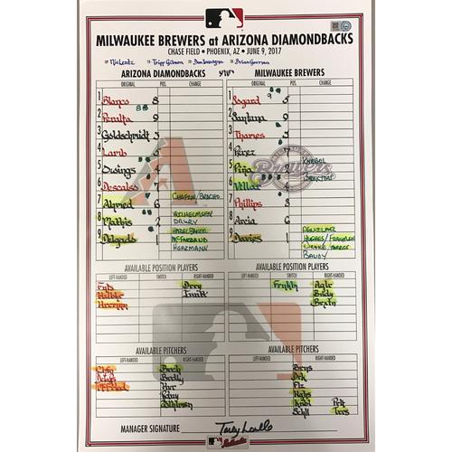Photo of Game-Used Lineup Card - Diamondbacks vs. Brewers - 6/9/2017