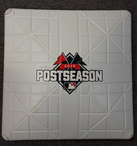 Authenticated Team Issued Base - 3rd Base for Texas at Toronto (ALDS Game 2; Oct. 9, 2015). 14 inning game. (Peg not included).