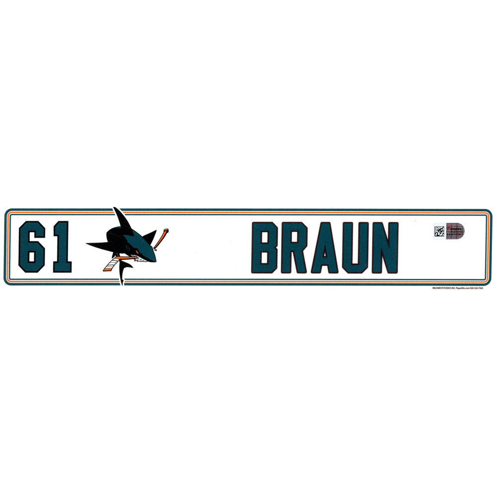 Justin Braun San Jose Sharks Player-Issued #61 Locker Room Nameplate from the 2016-17 NHL Season