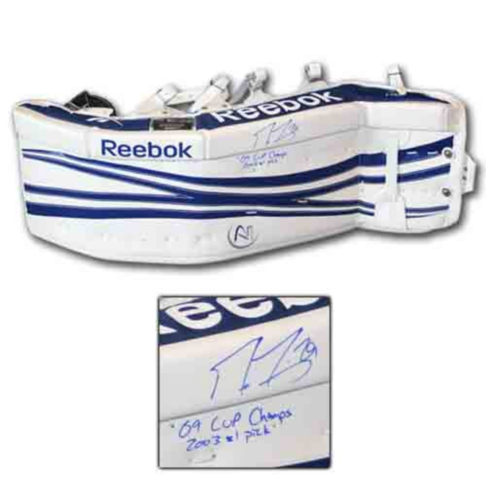 Marc-Andre Fleury (Pittsburgh Penguins) Autographed Reebok Goalie Pad w/09 CUP CHAMPS & 2003 #1 PICK Inscriptions