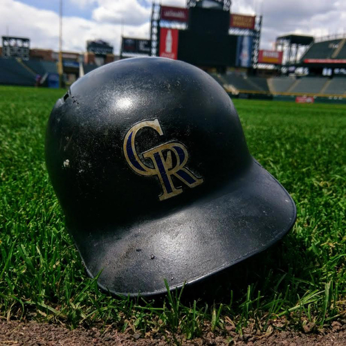 Photo of Colorado Rockies Nolan Arenado 2017 Game-Used Batting Helmet.