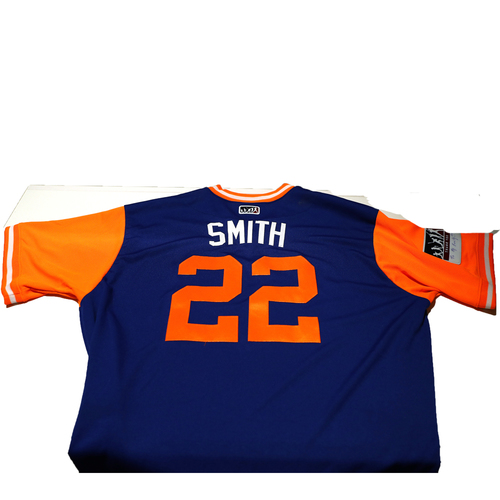"Photo of Dominic ""Smith"" Smith New York Mets Game-Used Players Weekend Jersey"