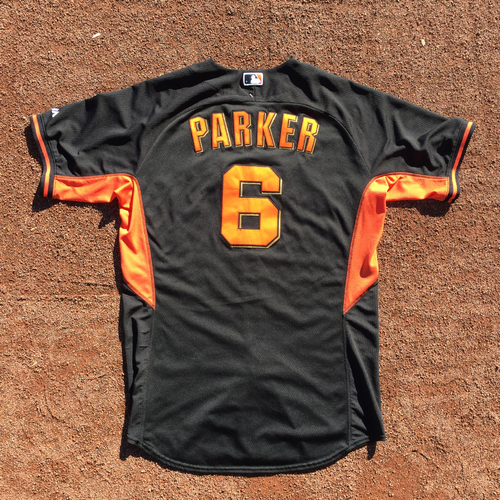 Photo of San Francisco Giants - 2016 Game-Used Batting Practice Jersey - Worn by #6 Jarrett Parker on 10/13 (Size 48)