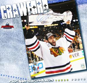 COREY CRAWFORD Signed Chicago Blackhawks 16 X 20 Photo w/ cup - 77005
