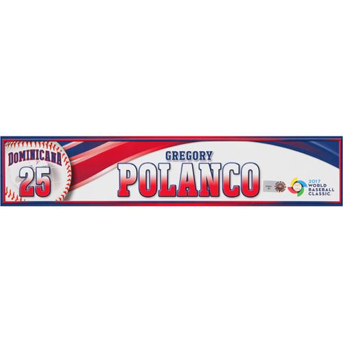 Photo of 2017 WBC Dominican Republic Game-Used Locker Tag: Gregory Polanco #25