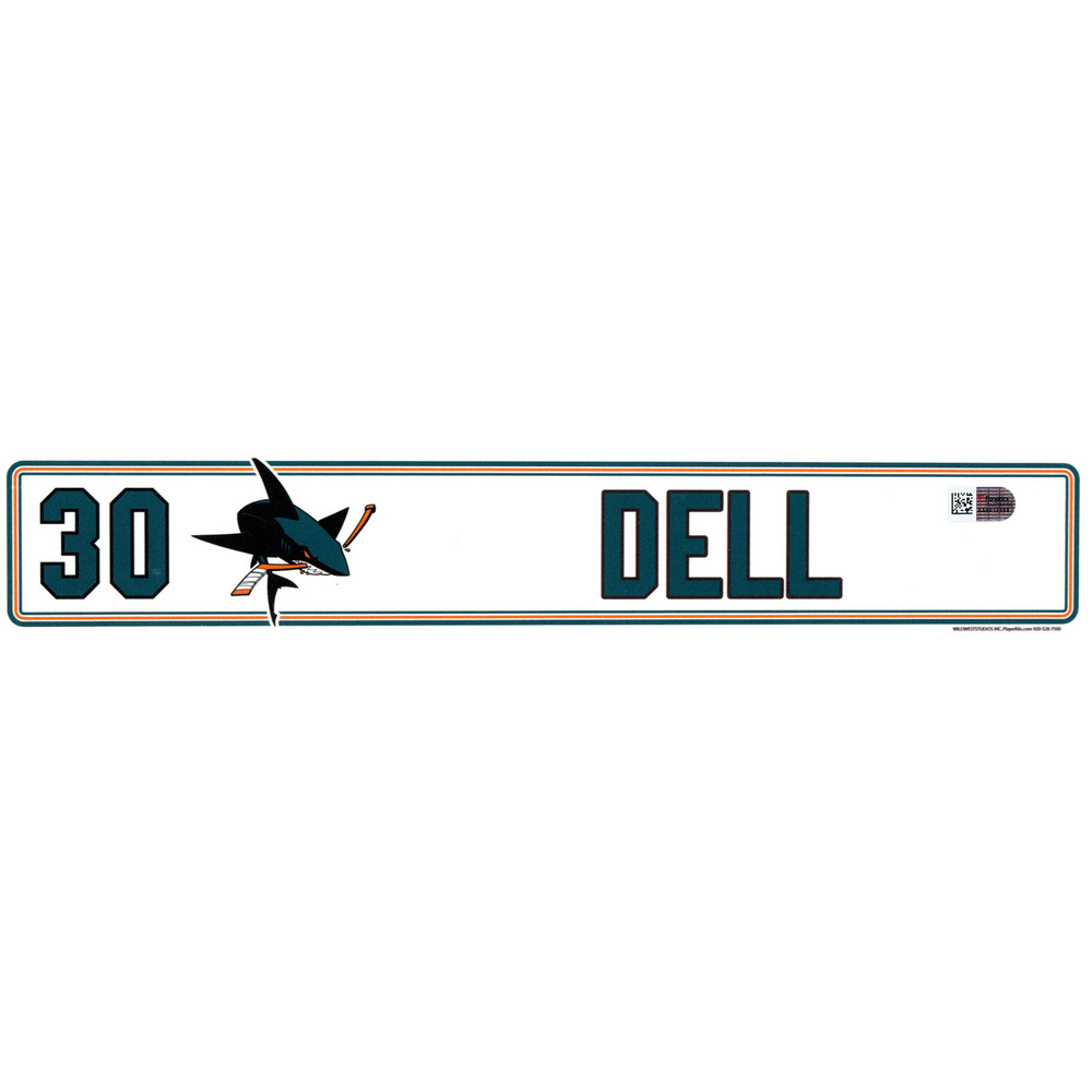 Aaron Dell San Jose Sharks Player-Issued #30 Locker Room Nameplate from the 2016-17 NHL Season