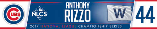 Photo of Anthony Rizzo Game-Used Locker Nameplate -- NLCS Game 4 -- Dodgers vs. Cubs -- 10/18/17